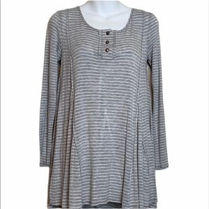 Fervour Gray Long Sleeve Top with White Stripes